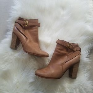 Coach Tan Tulah Booties Stacked Heels Gold Ankle